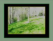 Skewed Acrylic Prints - Sun Day Grayed framed in black and green Acrylic Print by Gretchen Wrede