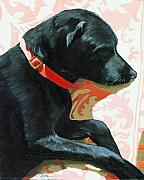Sleeping Black Dog Posters - Sun Dog - dog portrait oil painting Poster by Linda Apple