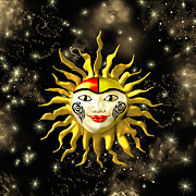 Sun Rays Digital Art Prints - Sun Face  Print by Methune Hively