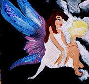 Yellow Fairy Painting Originals - Sun Fairy by Marie Bulger