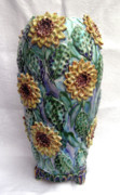 Purple Ceramics - Sun Flower Vase by Renee Kilburn