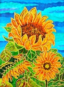 Landscape Glass Art Framed Prints - Sun Flower1 Framed Print by Danuta Duminica