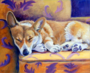 Puppies Paintings - Sun Glow Nap - Pembroke Welsh Corgi by Lyn Cook