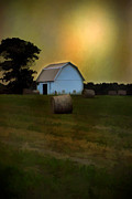 Hay Bales Digital Art Posters - Sun Going Down Poster by Mary Timman