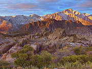Mountain Prints - Sun Illuminating The Alabama Hills Print by Tim Fitzharris