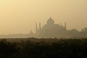Dome Posters - Sun Is Rising Over Taj Mahal Poster by Mangini Photography