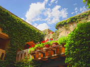 Tlaquepaque Sedona Prints - Sun-kissed Geraniums at Tlaquepaque Print by Carolyn Krek