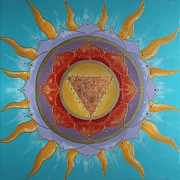 Chanting Prints - Sun Mandala Print by Jean Kowalski