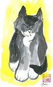 Pictures Of Cats Prints - Sun Meditation Print by Ellen Miffitt