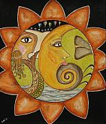Folk Art Painting Posters - Sun Moon and Mermaid Poster by Rain Ririn