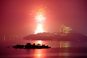 Firework Display Posters - Sun Moon Lake Poster by Michaeliao27