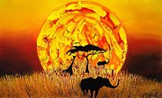 Trees At Sunset Paintings - Sun Of Africa 4 by James Dunbar
