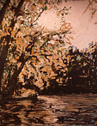 Indiana Autumn Painting Prints - Sun on the White River Print by Addie May Hirschten
