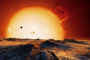 Red Giant Photos - Sun Over Dying Earth, Artwork by Detlev Van Ravenswaay