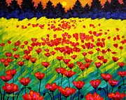 Landscape Greeting Cards Painting Framed Prints - Sun Poppies Framed Print by John  Nolan