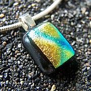 Fused Glass Jewelry - Sun Ray Dichroic Fused Glass Pendant by Lisa Gerstenberger