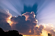 Sun Rays And Clouds Print by Amber Flowers