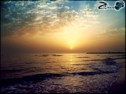 Beautiful Clouds Pyrography Posters - Sun rise on Beach Poster by Zohaib Hassan