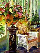 Wicker Chair Prints - Sun Room Print by David Lloyd Glover