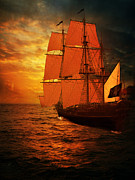 Sunrise Pyrography Prints - Sun Set and Ship Print by Eugene James