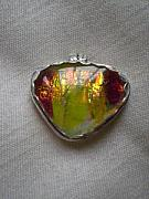 Fused Glass Mixed Media - Sun Set In Hawaii Pendent by Kathy St Martin