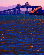 East Bay Digital Art Framed Prints - Sun Setting Beyond The Richmond-San Rafael Bridge - California - 5D18435 Framed Print by Wingsdomain Art and Photography