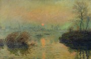 Orange Sky Framed Prints - Sun Setting over the Seine at Lavacourt Framed Print by Claude Monet