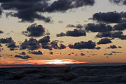 Sun Setting With Dramatic Clouds Over Lake Michigan Print by Christopher Purcell