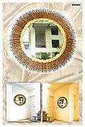 Antique Glass Art - Sun Shape mirror in wood one piece by Mirza Ali