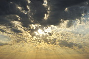 Sun Shining Through Clouds At Sunset Print by Sami Sarkis