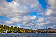 Fir Trees Photos - Sun Shinning over Fourth Lake by David Patterson
