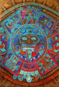 Aztec Framed Prints - Sun Stone Framed Print by Juan Jose Espinoza