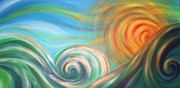 Lifestyle Painting Posters - Sun Surf Sky Poster by Reina Cottier