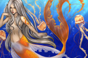 Mermaid Digital Art Prints - Sun Touched Print by KimiCookie Williams