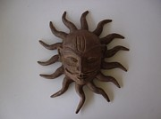 Corporate Sculpture Posters - Sun Wall Hanging Face Poster by Warli Triabesman Artists