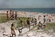 Rehoboth Beach Prints - Sunbathers And Beach Umbrellas Dot Print by Willard Culver