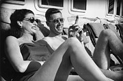 Two By Two Framed Prints - Sunbathers Framed Print by Bert Hardy