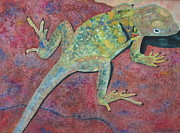 Reptiles Painting Originals - Sunbathing by Dee Durbin