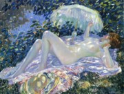 Sun Tan Framed Prints - Sunbathing Framed Print by Frederick Carl Frieseke