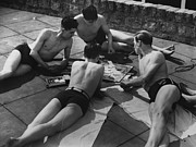 Leisure Activity Posters - Sunbathing Games Poster by Fox Photos