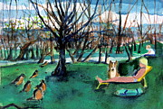 Dog Drawings Originals - Sunbathing with Friends by Mindy Newman