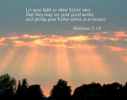 Printed Digital Art Prints - Sunbeams through clouds with scripture Print by Gayland Crutchfield