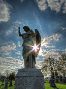 Statue Pastels Prints - Sunburst at Resurrection Print by Jackie Novak