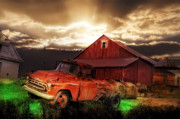 Bales Digital Art Posters - Sunburst at the Farm Poster by Bill Cannon