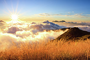 Lens Flare Prints - Sunburst Over Mountain With Clouds Print by Samyaoo