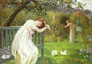 Picking Metal Prints - Sunday Afternoon - Ladies in a Garden Metal Print by English School