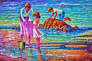 Playing Painting Originals - Sunday Afternoon Beach Study by Joseph   Ruff