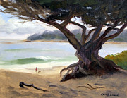 Dog Walking Painting Posters - Sunday Afternoon Carmel Beach Poster by Karin  Leonard