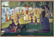 Shade Painting Framed Prints - Sunday Afternoon on the Island of La Grande Jatte Framed Print by Georges Pierre Seurat
