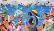 Umbrellas Digital Art - Sunday Afternoon Postmodern Beach by Barry Kite